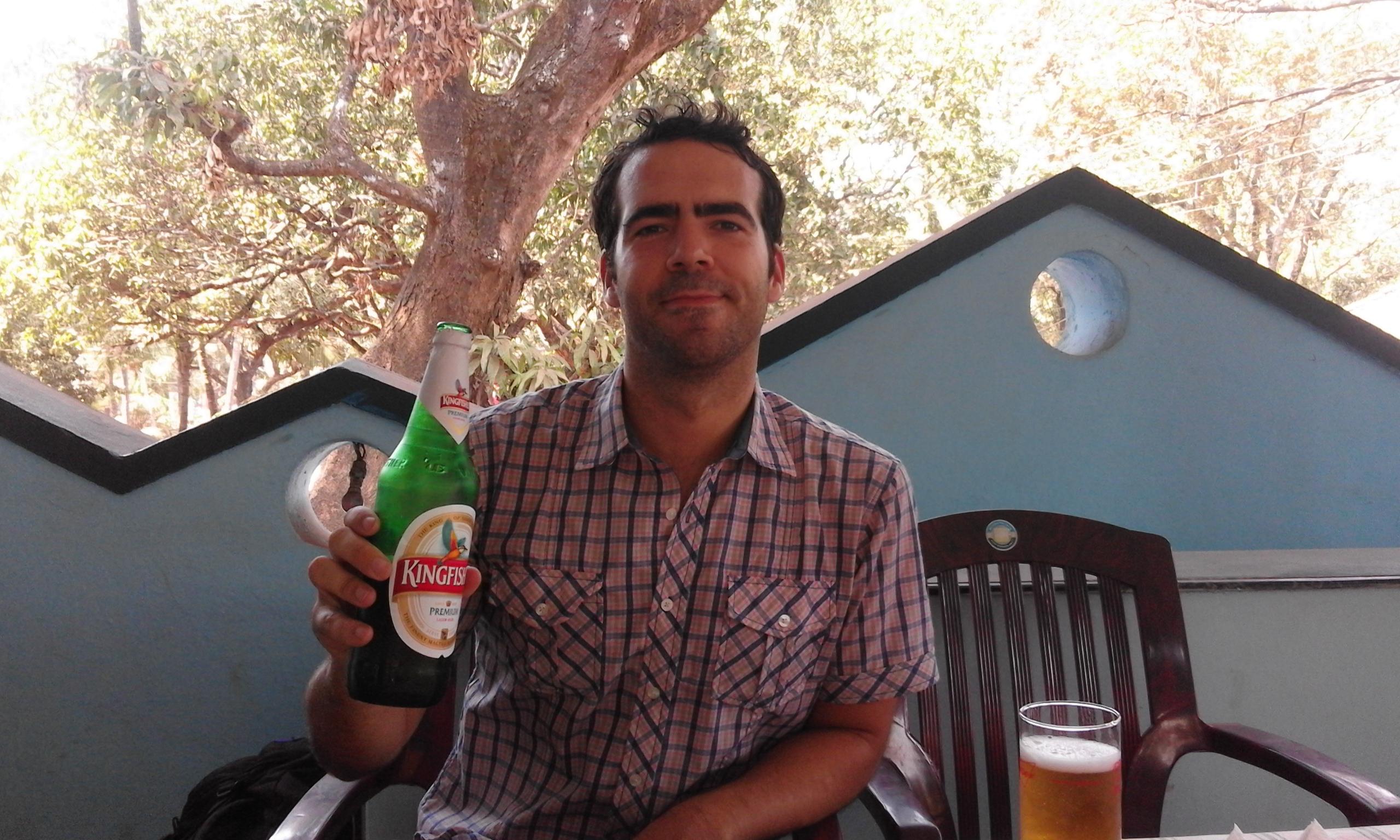 first taste of Goan beer=happy Phil